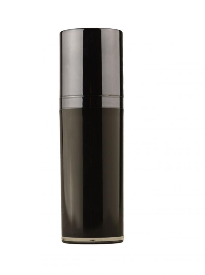 Twist up airless black cosmetic bottles for foundation , lotion