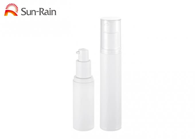 White Airless Cosmetic Bottles Sr2109b , Pp Smooth Empty Lotion Bottles