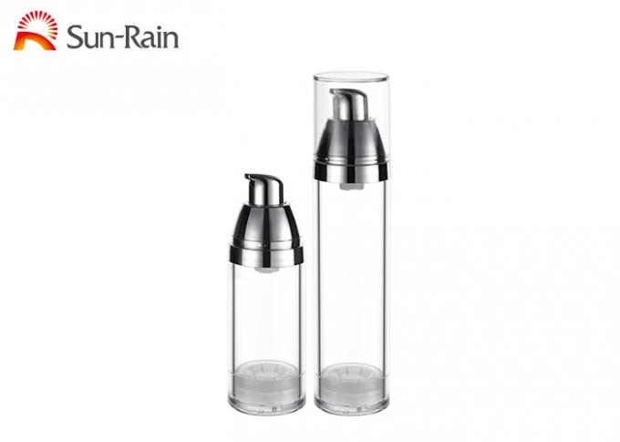 Luxury Petg  Airless Lotion Pump Bottles 30ml 50ml Round Shape For Skin Care