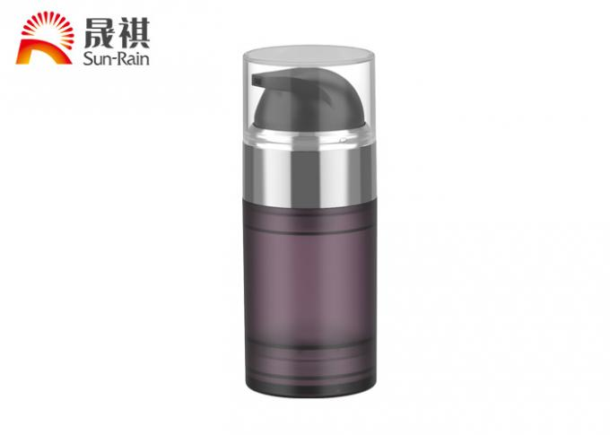 PETG purple airless pump cosmetic bottle packaging with MS lid