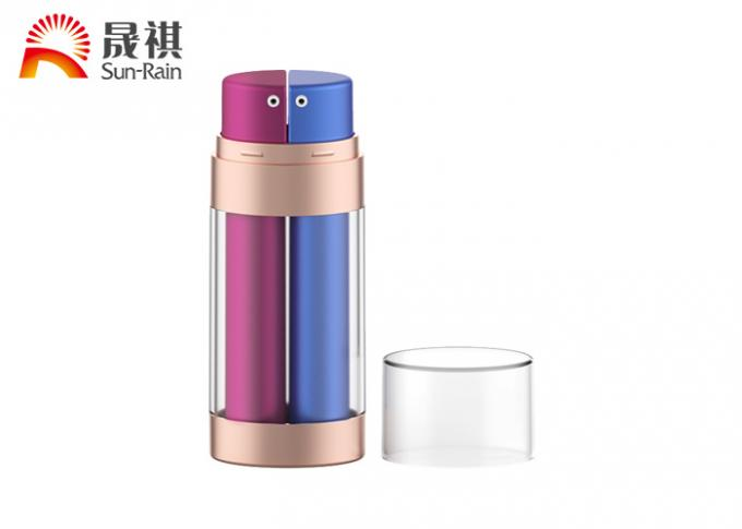 Dual oval airless bottle petg double squeeze cosmetic packaging
