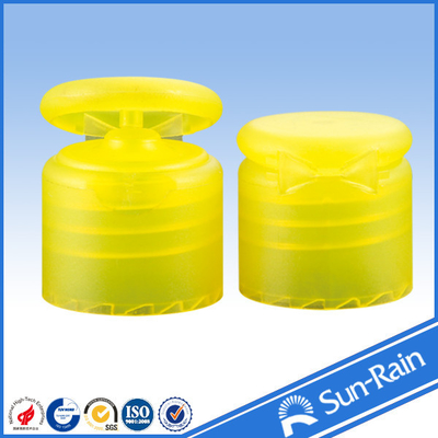 China 24mm 28mm Smooth closure yellow flip top bottle cap for cosmetic bottle supplier