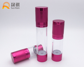 China Alum Airless Pump Bottle AS Body Bottle Packaging Red Silver Color SR2108 supplier