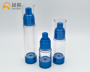 China Customized Cosmetic Lotion Packaging 30ml Blue White Clear Airless Container supplier