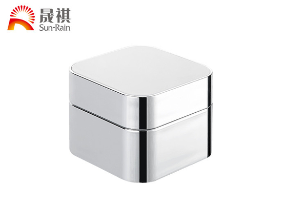 China Luxury Square Cosmetic Cream Jars , 50g Acrylic Cosmetic Containers For Packaging supplier
