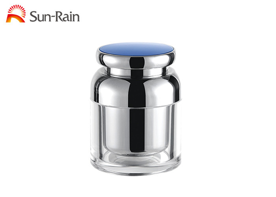 China Silver Transparent Plastic Cosmetic Jars , Small Plastic Jars With Lids 30ml 50ml SR2372 supplier