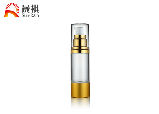 China Custom Airless Pump Bottles Cosmetic Transparent Golden Collar AS Body SR-2108C supplier