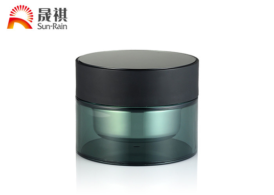 China Green Round Plastic Cosmetic Jars 50g PMMA  Plastic Makeup Containers Double Wall supplier