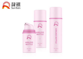 China Custom pink round PP plastic airless lotion bottle 15ml 30ml 50ml supplier