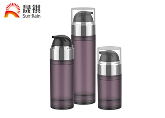 China PETG purple airless pump cosmetic bottle packaging with MS lid supplier