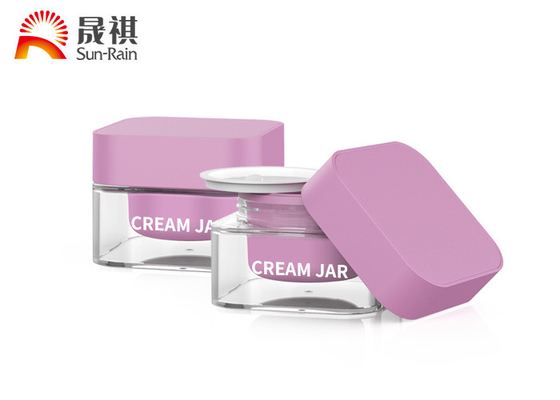 China Double Walled Empty Transparent Acrylic Square Face Cream Jar 50g supplier