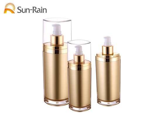 China Decorative Flat Lotion Bottle Acrylic Gold Body With 50ml 60ml 120ml Capacity distributor