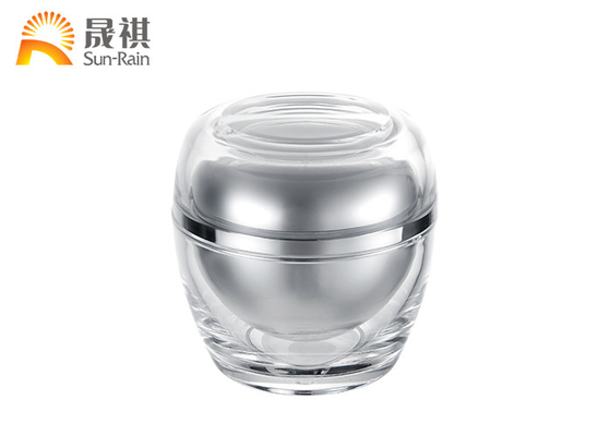 China Empty Acrylic Plastic Cosmetic Jars Silver Aluminum 50ml For Skin Care Packaging distributor