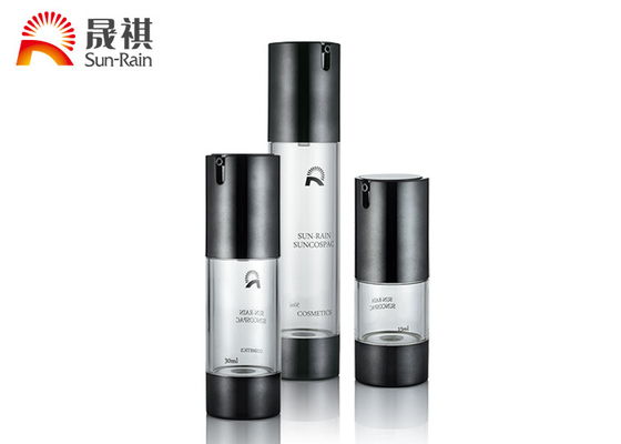 Round AS Black Cosmetic Bottle Packaging For Skin Care Cream , 15ml 30ml 50ml