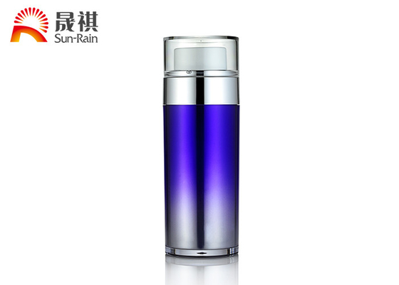 China SR2151B Airless Cosmetic Bottles , Purple Double Deck Airless Lotion Pump Bottles factory