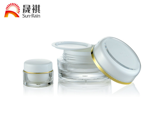China White Acrylic Empty Cream Jars , Round Plastic Makeup Container 15ml 30ml 50ml distributor