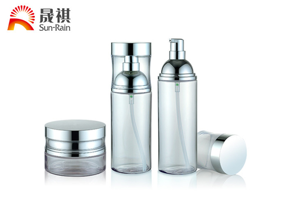 China Empty round transparent cosmetic bottles and jars set 100ml 120ml 50g distributor