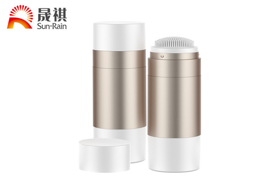 China Empty AS 50g PET Bottle Container Round Deodorant Bottle With Sponge Brush distributor