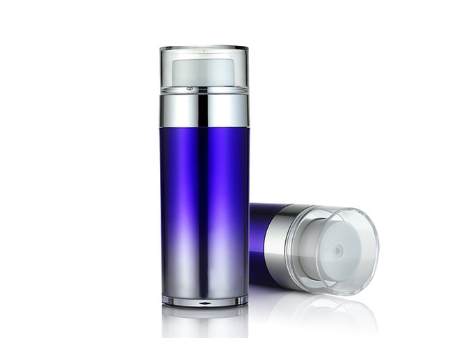 SR2151B Airless Cosmetic Bottles , Purple Double Deck Airless Lotion Pump Bottles