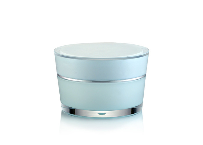 Silver Round Plastic Cosmetic Jars SR-2303A PMMA Material For Cosmetic Skincare